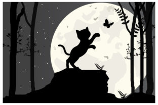 Print on Demand: Cat and Moon Silhouette Graphic Illustrations By curutdesign
