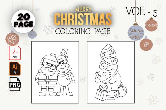 Print on Demand: Christmas Coloring Pages for Kids Vol-5 Graphic Coloring Pages & Books Kids By MK DESIGN