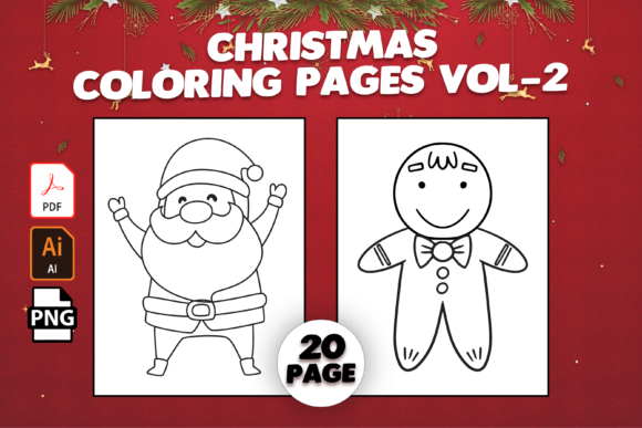 Print on Demand: Christmas Coloring Pages Vol-2 Graphic Coloring Pages & Books Kids By MK DESIGN