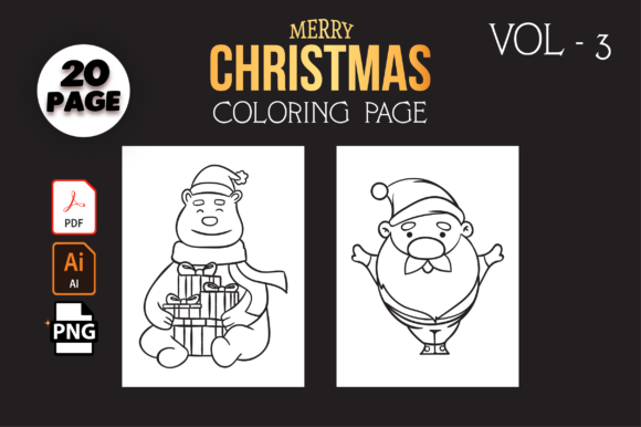 Print on Demand: Christmas Coloring Pages Vol-3 Graphic Coloring Pages & Books Kids By MK DESIGN