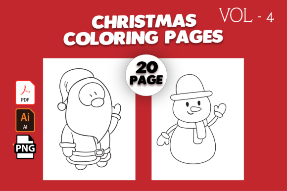 Print on Demand: Christmas Coloring Pages Vol-4 Graphic Coloring Pages & Books Kids By MK DESIGN