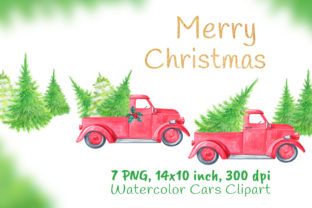 Christmas Red Truck with Pine Woodland Graphic Objects By artpanda2018