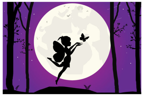 Print on Demand: Fairy and Moon Silhouette Gráfico Ilustraciones Por curutdesign