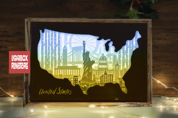 151 United States 3d Paper Lightbox Temp Graphic 3D Shadow Box By lightbox.rinstore