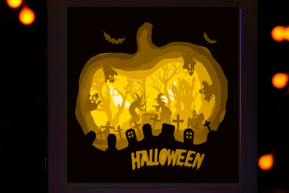 171 Happy Halloween 3d Paper Lightbox Graphic 3D Shadow Box By lightbox.rinstore