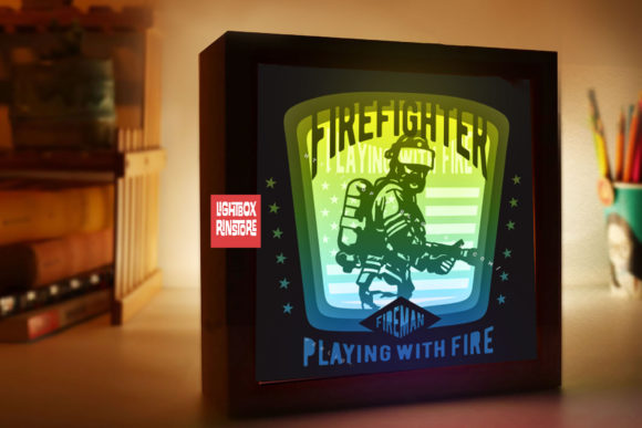 174 Fireman 3d Paper Lightbox Templates Graphic 3D Shadow Box By lightbox.rinstore