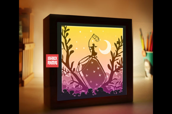 184 Catch the Stars 3d Paper Lightbox Graphic 3D Shadow Box By lightbox.rinstore