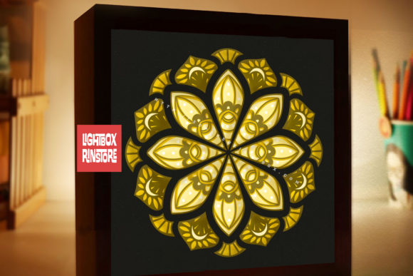 184 Mandala 3d Paper Lightbox Templates Graphic 3D Shadow Box By lightbox.rinstore