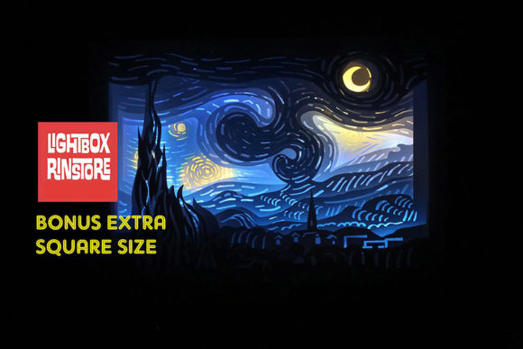 19 Starry Night 3d Paper Lightbox Temp Graphic 3D Shadow Box By lightbox.rinstore