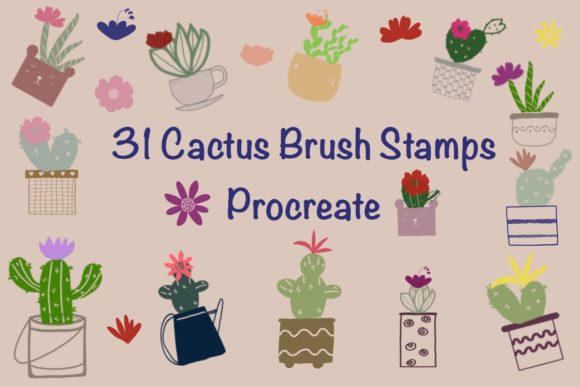 31 Cactus Decor Brush Stamps Procreate Graphic Brushes By Temtemdesign