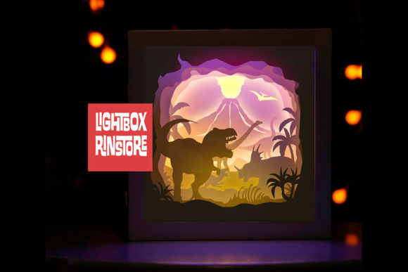 46 Dinosaur 3d Paper Lightbox Template Graphic 3D Shadow Box By lightbox.rinstore