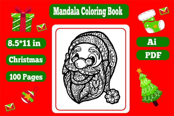 50 Pages Christmas Mandala Coloring Book Graphic