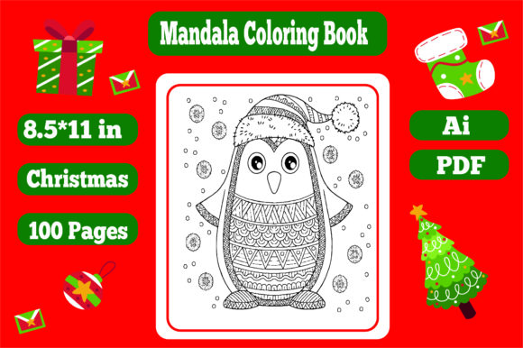 50 Pages Christmas Mandala Coloring Book Graphic Download