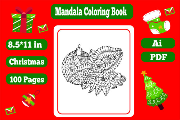 50 Pages Christmas Mandala Coloring Book Graphic Item