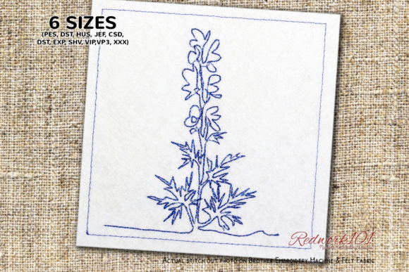 Aconite Flowering Plant Lineart Forest & Trees Embroidery Design By Redwork101