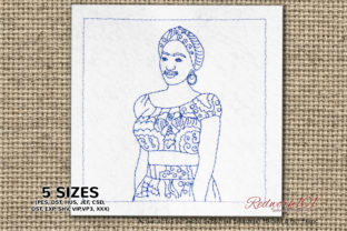 African Girl Lineart Africa Embroidery Design By Redwork101