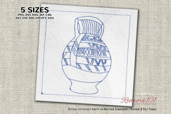 African Pottery Lineart Africa Embroidery Design By Redwork101