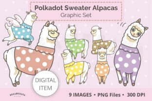 Alpacas in Polkadot Sweater Clipart Set Graphic Illustrations By Dreamesaya