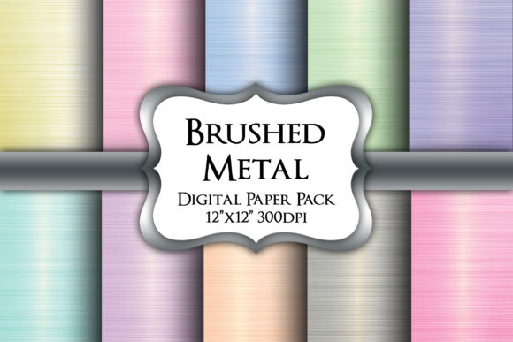 Print on Demand: Brushed Metal Digital Paper Pack Graphic Backgrounds By Party Pixelz