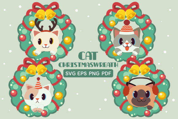 Bundle of Cat Christmaswreath Clipart Graphic Illustrations By Guppic the duck