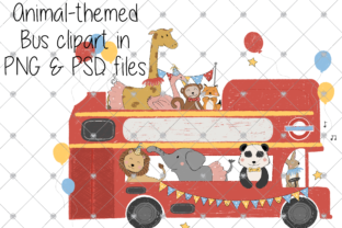 Print on Demand: Bus, Animal, Cartoon, Nursery, London Graphic Illustrations By CommercialCliparts