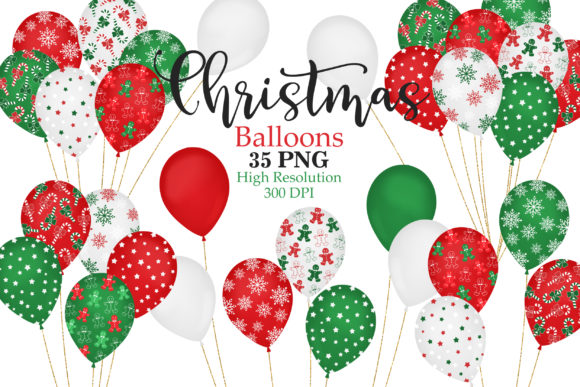 Christmas Balloons Clip Art Graphic Illustrations By Sweet Shop Design