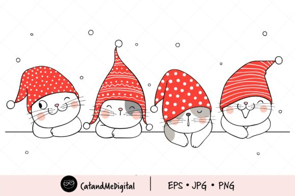 Christmas Cat with Gnome Hat Clipart Graphic Illustrations By CatAndMe