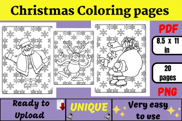 Christmas Coloring Pages for KDP Graphic Coloring Pages & Books Kids By Wiss_Tips designs