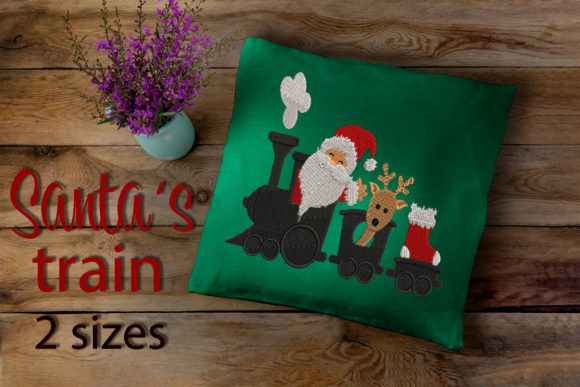 Christmas Design, Santa Coming by Train Embroidery Download