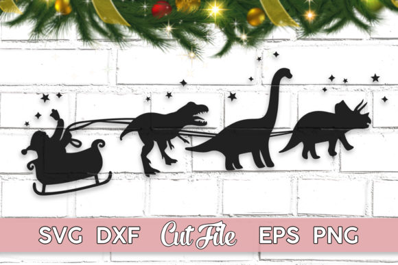 Christmas Dinosaur Sleigh Ride Graphic Illustrations By MaggieDoDesign