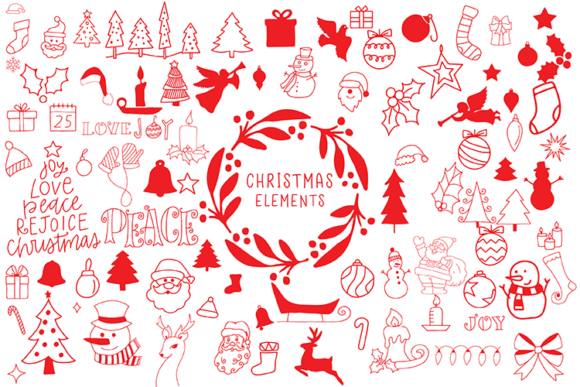 Christmas Elements Graphic Illustrations By carrtoonz