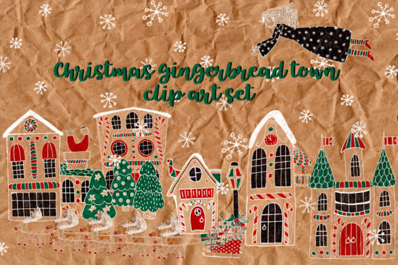 Print on Demand: Christmas Gingerbread Town Graphic Illustrations By Sadalmellik watercolor