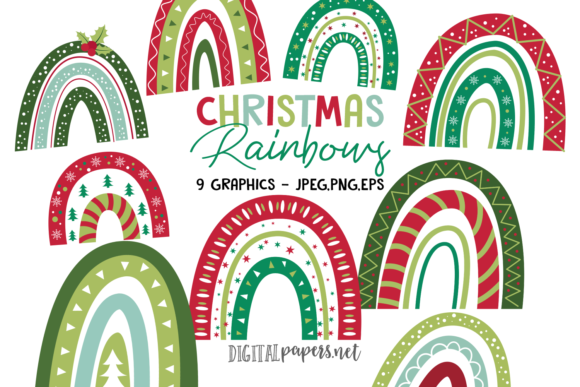 Print on Demand: Christmas Rainbows Graphic Illustrations By DigitalPapers