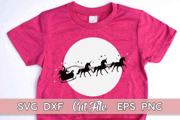 Christmas Sleigh Unicorn Cut File Graphic Illustrations By MaggieDoDesign