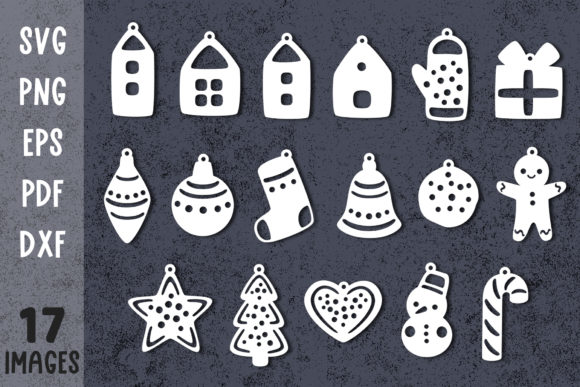 Christmas Ornaments Svg for Cricut Graphic Crafts By GreenWolf Art