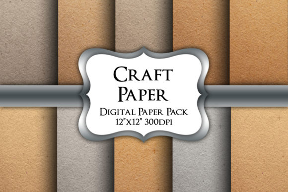 Print on Demand: Craft Paper Textures Digital Paper Pack Graphic Backgrounds By Party Pixelz