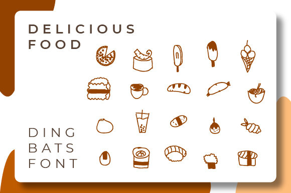 Print on Demand: Delicious Food Dingbats Font By Typekamu