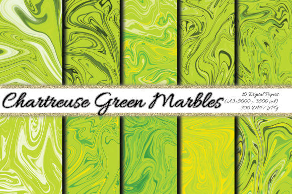 Digital Paper Chartreuse Green Marbles Graphic Backgrounds By PrisonerRabbit