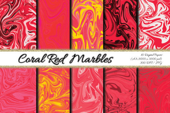 Digital Paper Coral Red Background Graphic Backgrounds By PrisonerRabbit
