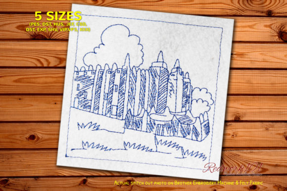 Djenne Town Bluework Africa Embroidery Design By Redwork101