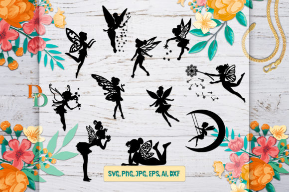Fairies Silhouettes, Silhouette Digital Graphic Crafts By denysdigitalshop