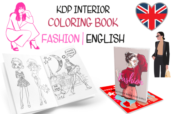 Fashion Coloring Book for Girls Graphic KDP Interiors By Piqui Designs