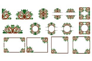 Print on Demand: Flora Ornament Border Bundle Gráfico Crafts Por Arief Sapta Adjie
