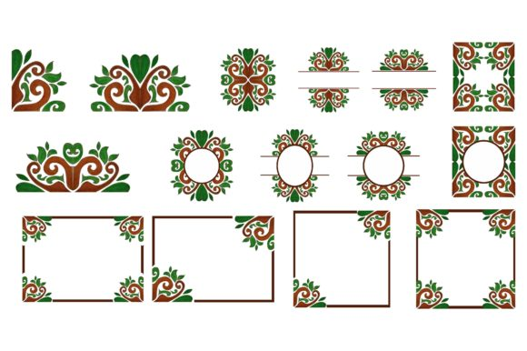 Print on Demand: Flora Ornament Border Bundle Graphic Crafts By Arief Sapta Adjie