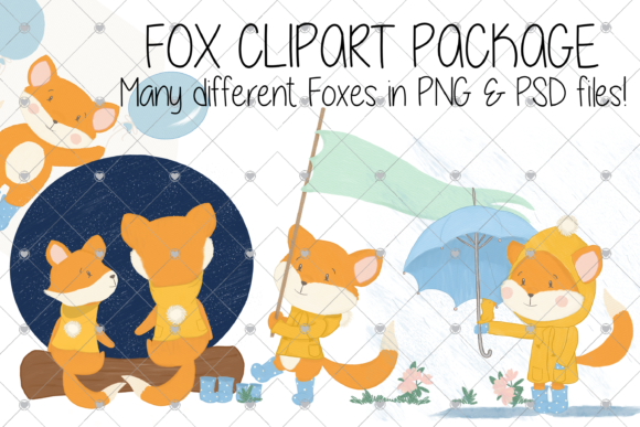Print on Demand: Fox, Animals Clipart, Cartoon, Foxes Graphic Illustrations By essexprintingservice