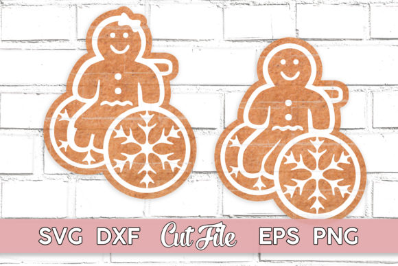 Gingerbread Boy and Girl Wheelchair Graphic Print Templates By MaggieDoDesign