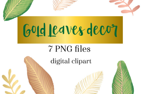 Print on Demand: Gold Leaves Clipart, Greenery Clipart Graphic Illustrations By NatashaPrando