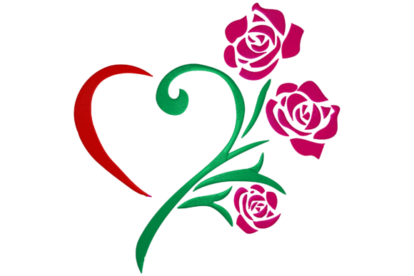 Heart Rose Flower Embroidery