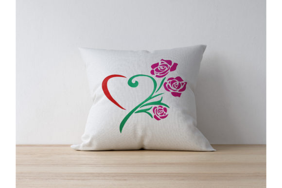 Heart Rose Flower Embroidery Item
