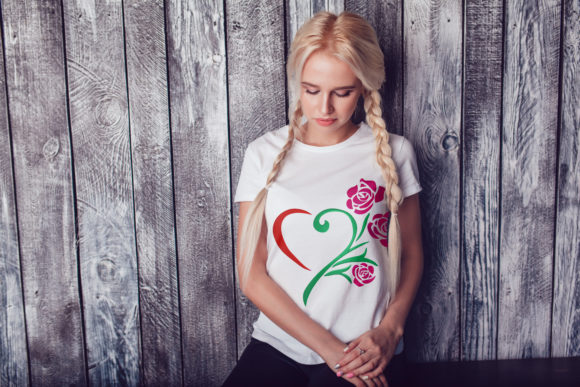 Heart Rose Flower Embroidery Preview